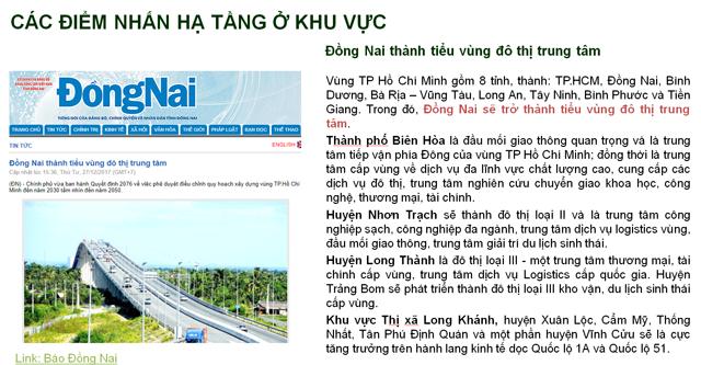 Điểm nhấn Quy hoạch cơ sở hạ tầng Biên Hòa - Đồng Nai