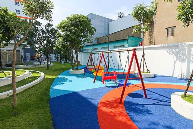 Hình ảnh khu vui chơi trẻ em đã hoàn thiện và sẵn sàng phục vụ cư dân