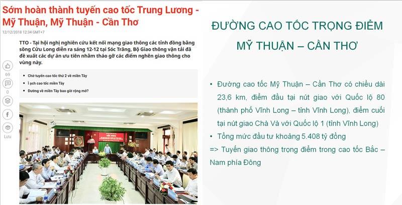 Thông tin Quy hoạch đường cao tốc Mỹ Thuận - Cần Thơ