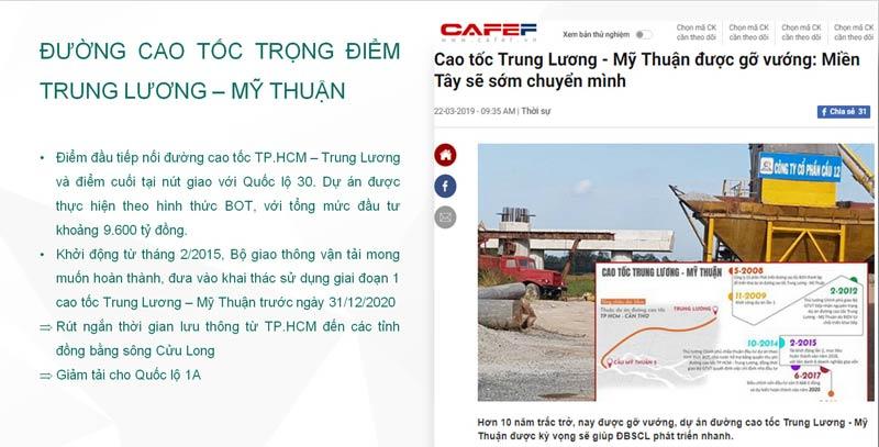 Thông tin Quy hoạch đường cao tốc Trung Lương - Mỹ Thuận