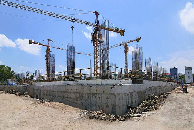 Hoàn thành đổ bê tông tường tầng hầm Block A, Block B và Block C