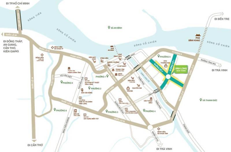 Vị trí dự án đất nền Vĩnh Long New Town