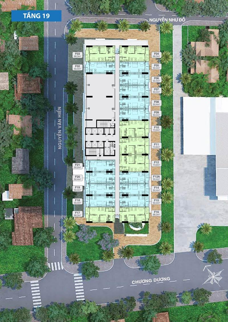 Mặt bằng căn hộ Quy Nhơn Melody Block Flamenco tầng 19