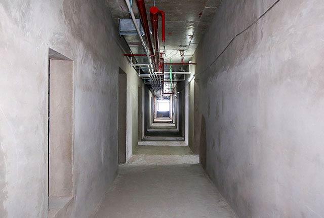 Công tác thi công tô tường hành lang tầng 20 block C