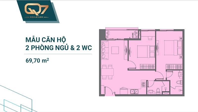 Thiết kê căn hộ Q7 Boulevard 2 phòng ngủ