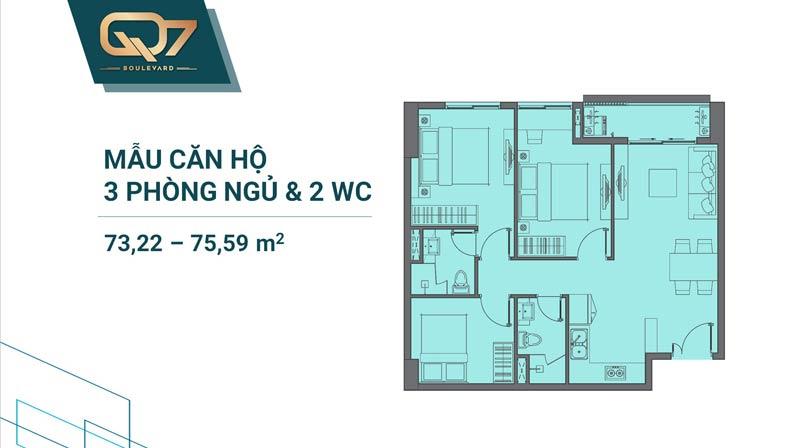Thiết kê căn hộ Q7 Boulevard 3 phòng ngủ