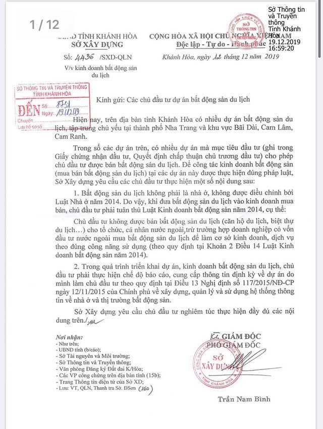 Công văn số 4436 Sở Xây dựng Khánh Hòa về dự án không cho khách nước ngoài mua