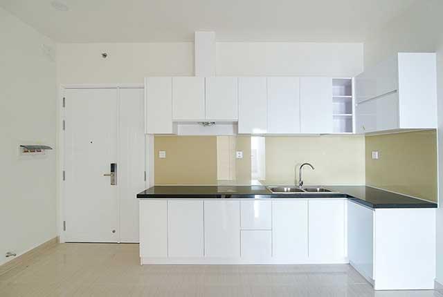 Công tác thi công lắp đặt tủ bếp căn hộ tầng 20 block A