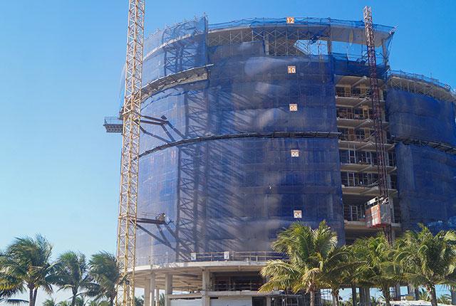 Hình ảnh tổng quan khách sạn dự án đang trong quá trình xây dựng đến tầng 12
