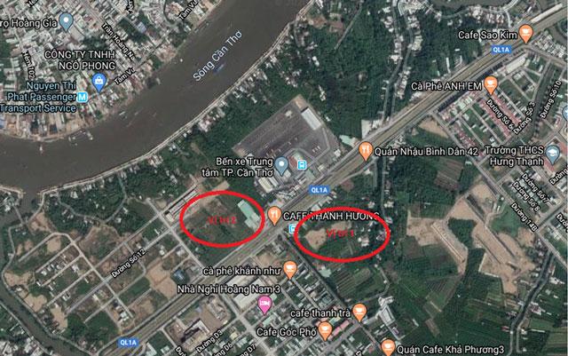 Khu vực quanh trục đường Quốc lộ 1A, gần Bến xe Trung Tâm Cần Thơ; bao gồm vị trí số 1 (Vị trí UBND đã giới thiệu) và vị trí đề xuất số 2